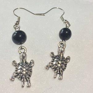 Turtle & Black Glass Drop Earrings